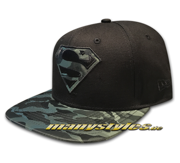 Superman DC Comic 9FIFTY Nylon Camo Infill Black Woodland Camouflage Snapback Cap von New Era