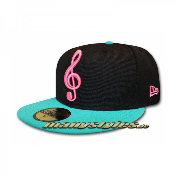 Unlicensed Cap Music Note Black Teal Pink exclusive new era