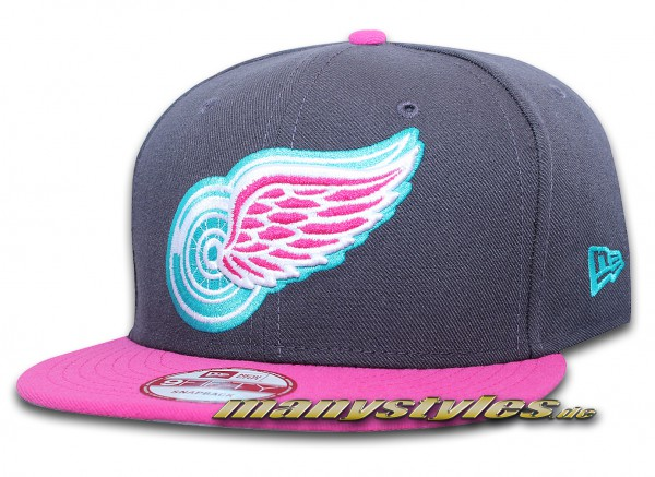 Detroit Red Wings 9FIFTY NHL exclusive Snapback Cap Graphite Beetroot (Pink) Vice Blue von New Era