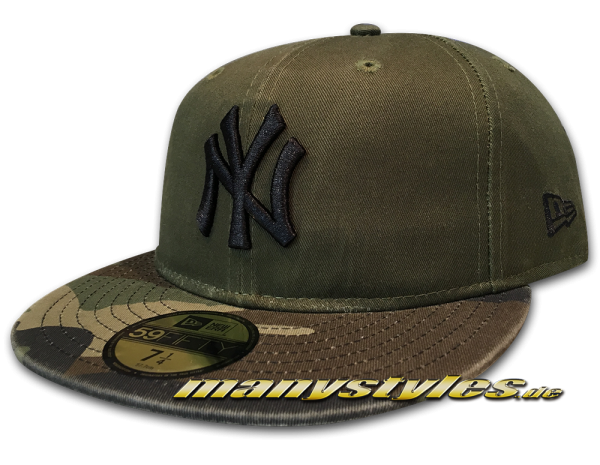 New Era NY Yankees MLB 59FIFTY Cap Washed Camo Fit Rifle Green Woodland Camouflage