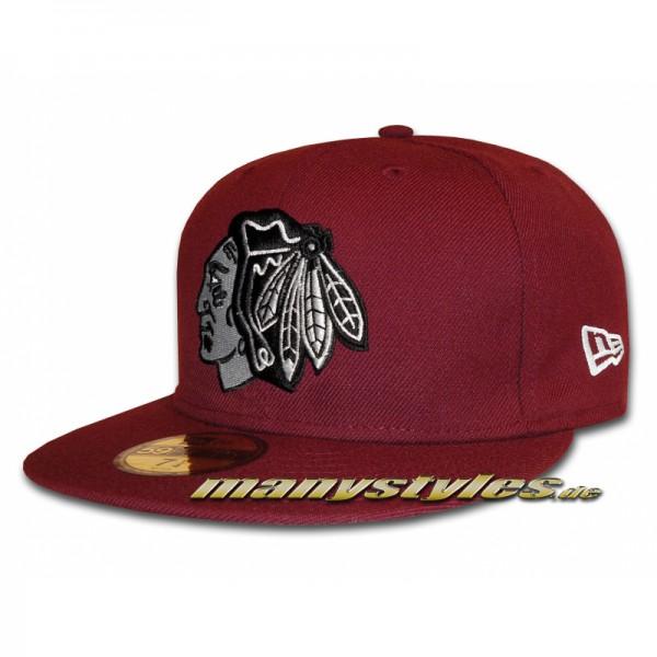 Chicago Blackhawks 59FIFTY NHL Basic exclusive Cap Maroon White Grey Black