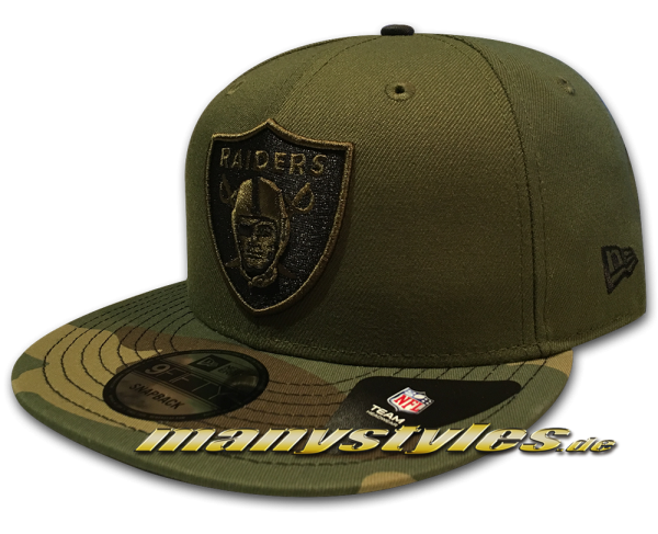 Las Vegas Raiders NFL 9FIFTY exclusive Snapback Cap Rifle Green Camo Woodland Camouflage Black von New Era Oakland Raiders