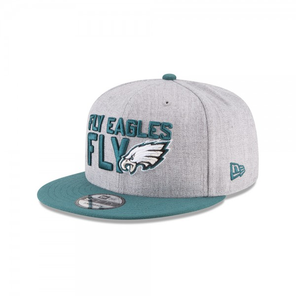 Philadelphia Eagles NFL On Stage Draft 9FIFTTY Snapback Cap Fly Eagles Fly Heather Green von New Era