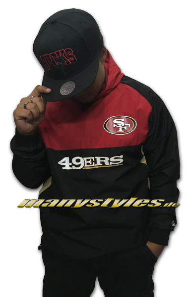 San Francisco 49ers NFL Color Block Windbreaker OTC Official Team Color Red Black Gold von New Era