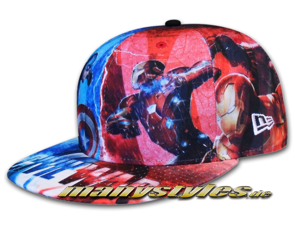 New Era Marvel Comic Art Cap Cpt America Captain America Civil War 59FIFTY All Over Sketches Multi Color Caps Alternate View