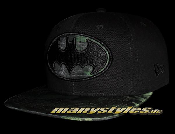 Batman DC Comic 9FIFTY Nylon Camo Infill Black Woodland Camouflage Snapback Cap