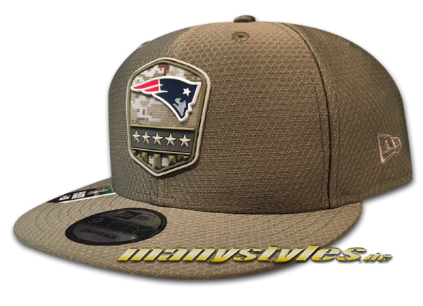 New England Patriots 9FIFTY NFL19 STS 950 Onf19 Snapback Cap Olive Salute to Service 2019 von New Era