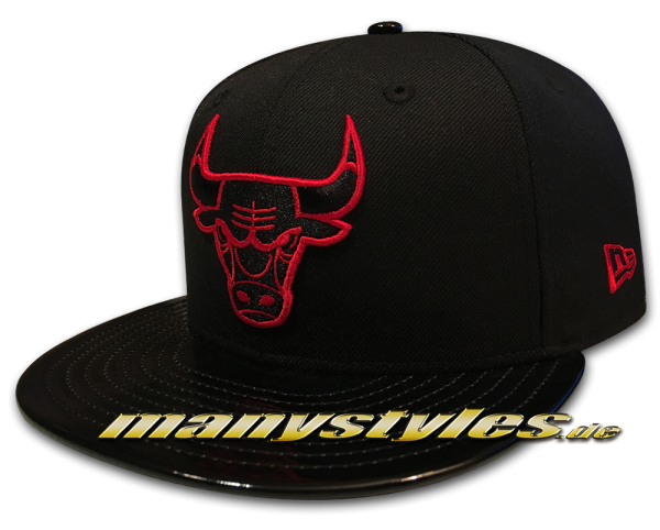 Chicago Bulls NBA 9FIFTY exclusive Snapback Cap Black Scarlet Red PU Leather Visor von New Era