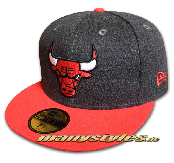 Chicago Bulls NBA 9FIFTY Fitted Cap Melton Crsp Heather Charcoal Dark Grey Black von New Era