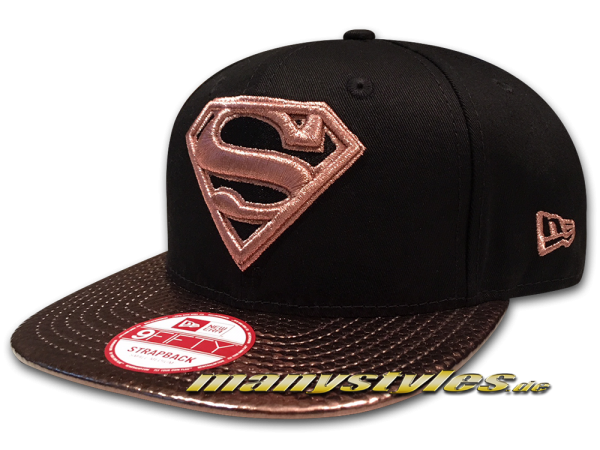 Superman DC Comic 9FIFTY OF Snapback Cap Mens Visor Shine in Black Copper Gold von New Era