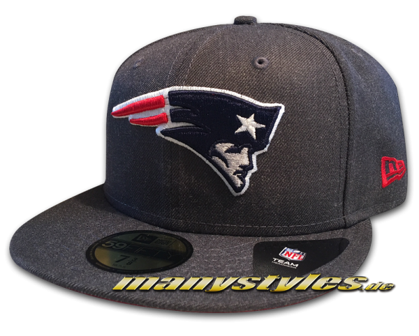 New England Patriots 59FIFTY NFL Heather Essential Cap Graphite Heather Dark Original Official Team Color OTC von New Era