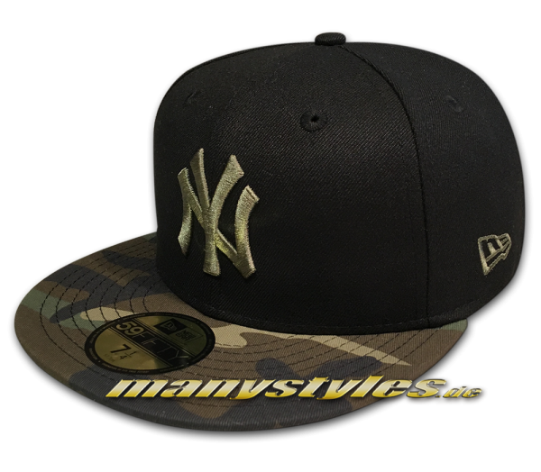NY Yankees MLB 59FIFTY Contrast Camo Fitted Black Woodland Camouflage von New Era