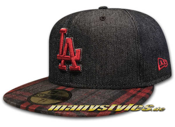 LA Dodgers 59FIFTY MLB Plaid Denim Jeans Black Scarlet Red von New Era
