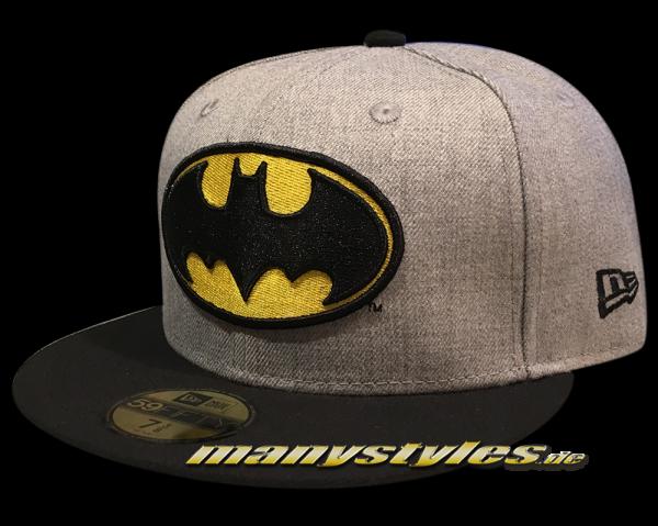 Batman 59FIFTY DC Comic Heather Hero Cap Grey Black Yellow OTC von New Era