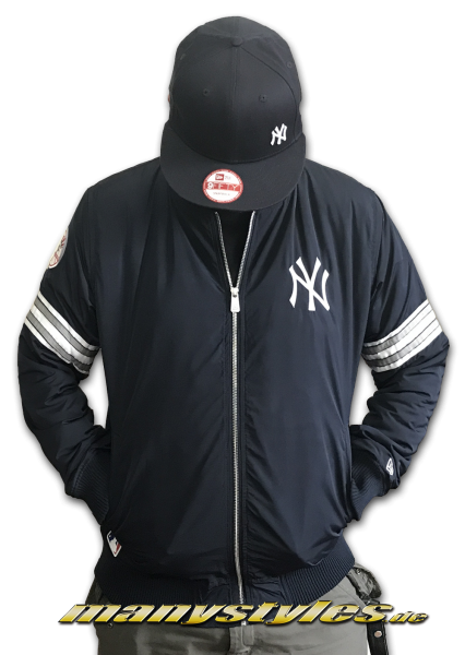 NY Yankees MLB Team Apparel Zip Bomber Jacket Navy White OTC von New Era