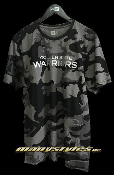 Golden State Warriors NBA Graphic Camo Tee Graphite Grey Black Camouflage von New Era Front