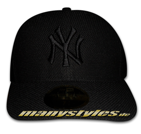 NY Yankees MLB Diamond Era LP Low Profile Cap Curved Visor Black on Black von New Era