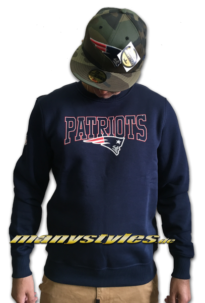 New England Patriots NFL Team Script Crewneck Sweater Navy Team Color von New Era