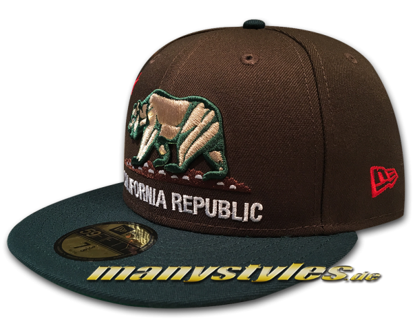 California Republic 59FIFTY Fitted Cali Bear exclusive Brown Green exclusive von New Era