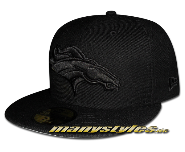 Denver Broncos 59FIFTY NFL official Black on Black exclusive Cap