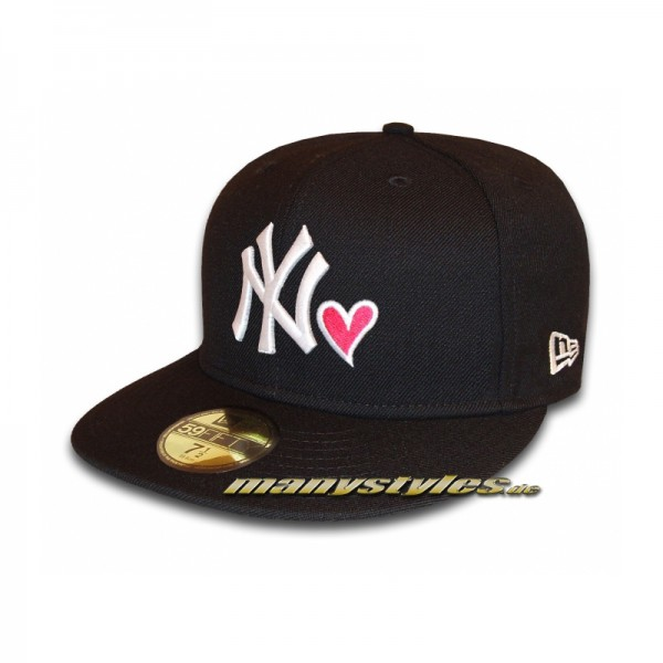 NY Yankees New Era NY Love Cap #exclusive# Black White Strawberry 59FIFTY Fitted Caps