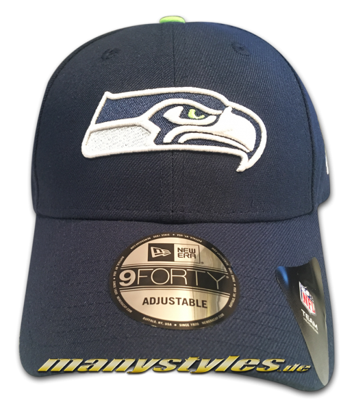 Seattle Seahawks NFL 9Forty Cuved Visor Cap Navy OTC Original Team Color Color Team Curved Visor 9Forty Adjustable Cap von New era