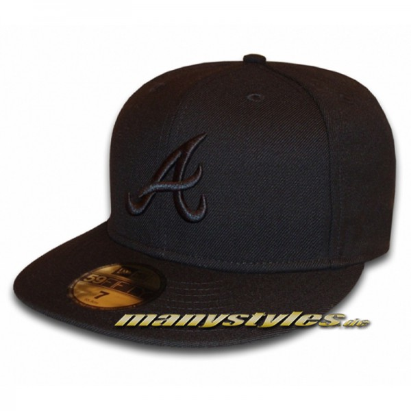 Atlanta Braves 59FIFTY MLB Cap Black on Black
