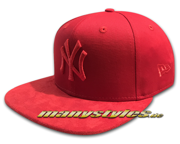 NY Yankees 9FIFTY MLB Tonal Suede Visor OF Snapback Cap Scarlet Red von New Era