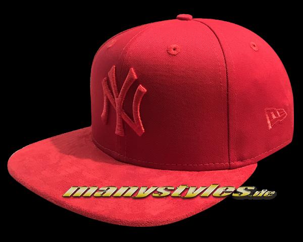 6635fe2d0 NY Yankees 9FIFTY MLB Tonal Suede Visor OF Snapback Cap Scarlet Red ...