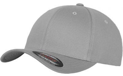 Blank Flex Fit Curved Visor Cap Grey Silver