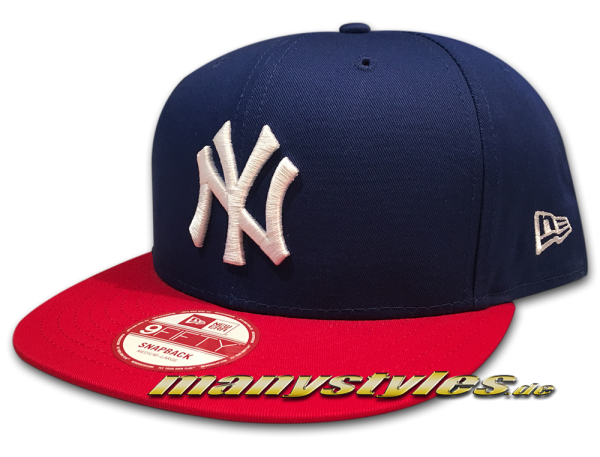 NY YANKEES MLB Cotton Block New Era 9FIFTY Snapback Cap Royal Blue Scarlet Red White