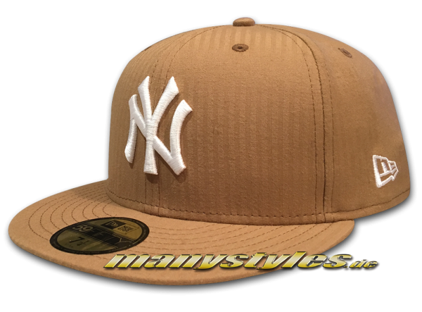 NY Yankees 59FIFTY MLB Seersucker Cap Khaki White von New Era