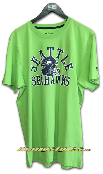 Seattle Seahawks NFL College Tee T-Shirt Lime Green Navy OTC Team Color von New Era