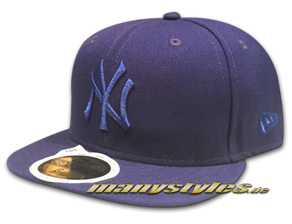 NY Yankees 59FIFTY MLB Basic Kids Cap Dark Royal Blue Royal Tonal von New Era