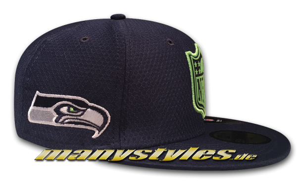 Seattle Seahawks 59FIFTY NFL Fitted Cap League Logo Fit Navy Lime Green OTC von New Era Side SeahawksLogo