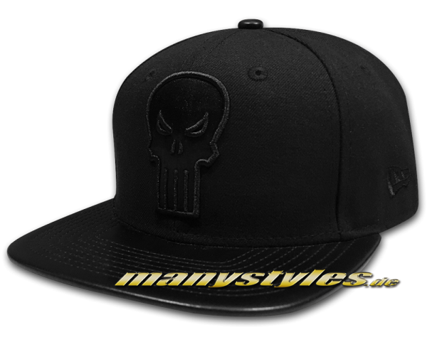 New Era The Punisher 9FIFTY Original Fit Marvel Comics Strapback Snapback Cap PU Leather Black on Black