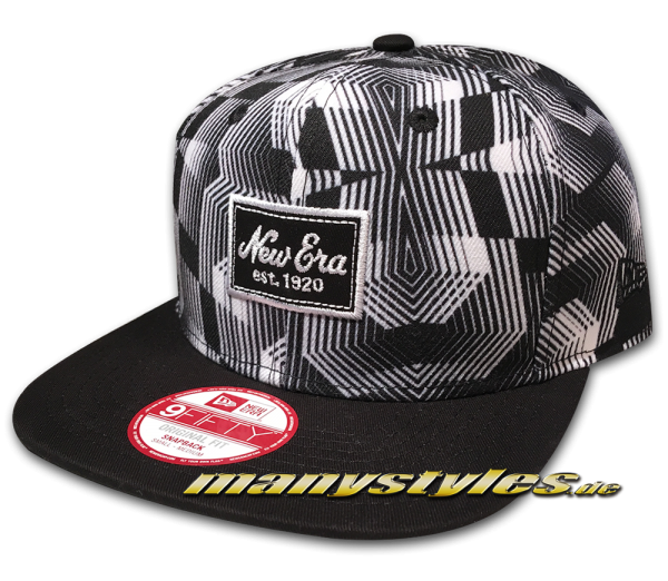 New Era Patch All over Muster Design Black and White 9FIFTY Snapback Cap