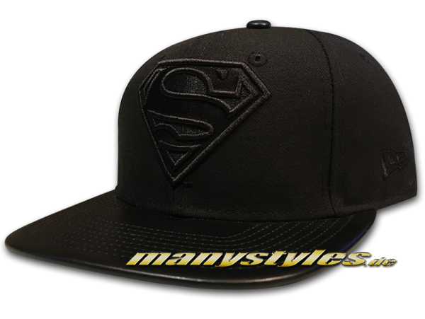 New Era Superman 9FIFTY Original Fit DC Comics Strapback Snapback Cap PU Leather Black on Black