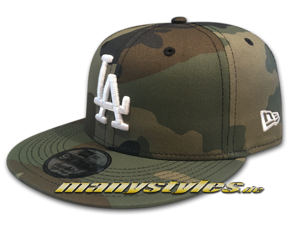 LA Dodgers MLB League Essential Woodland Camouflage White 9FIFTY Snapback Cap von New Era