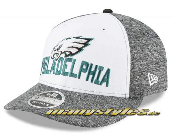 Philadelphia Eagles 9FIFTY NFL Opening Night Lowprofile Snapback Cap Charcoal Heather Jersey Material von New Era