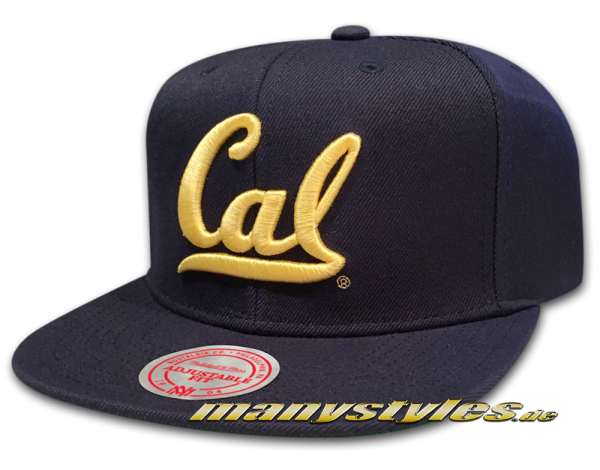 California University of Berkeley Golden Bears NCAA College Football Snapback Cap Wool Solid Basic Navy Yellow Official Team Color von Mitchell and Ness