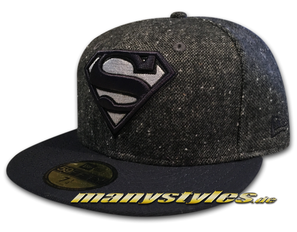 DC Comic 59FIFTY Superman Cap Character Tweed Graphite Navy von New Era