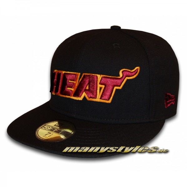 Miami Heat 59FIFTY NBA exclusive Cap Black Cardinal Red Orange