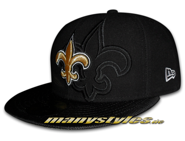 New Orleans Saints official 59FIFTY NFL Authentic Sideline Cap Black Team Color