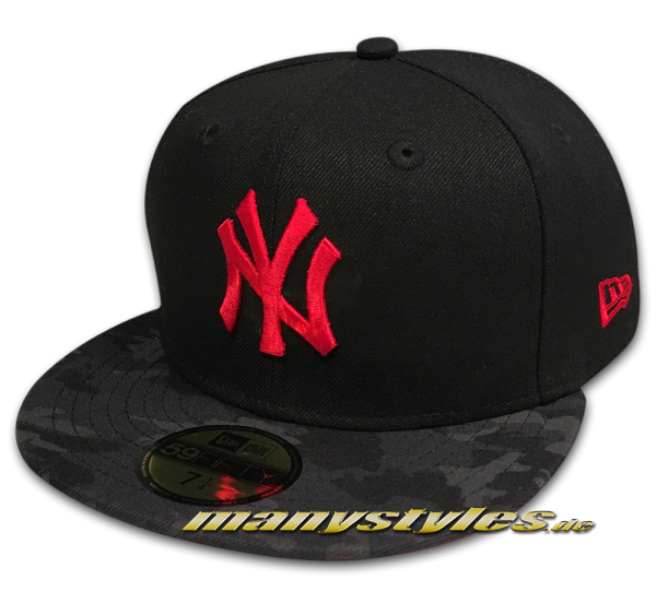 NY Yankees MLB 59FIFTY Contrast Camo Fitted Black Heather Red Camouflage von New Era