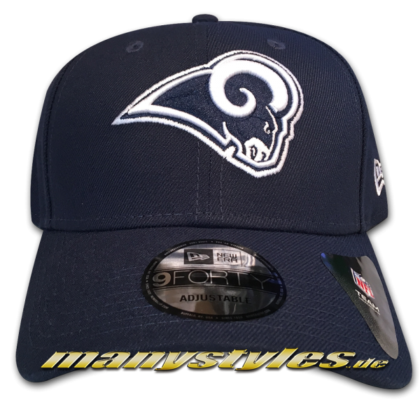 Los Angeles Rams 9FORTY NFL The League Curved Visor Adjustable Cap Original Team Color Navy White OTC von New Era