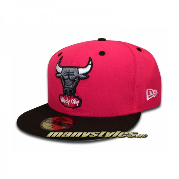 CHICAGO BULLS Windy City Bright Rose (Pink) Black Storm Grey White #exclusive# New Era 59FIFTY NBA official HWC Cap