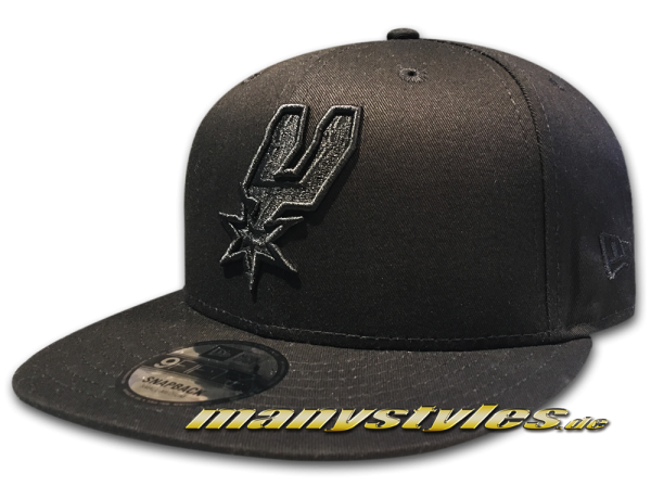 San Antonio Spurs NBA 9FIFTY BoB Snapback Cap Black on Black von New Era