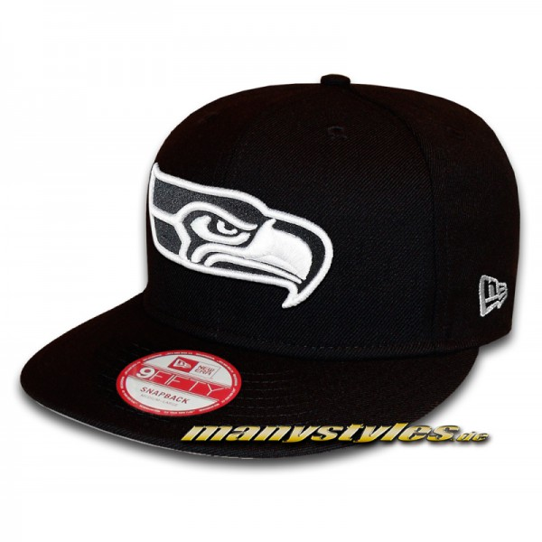 SEATTLE SEAHAWKS NFL 9FIFTY Snapback Cap Black White von New Era