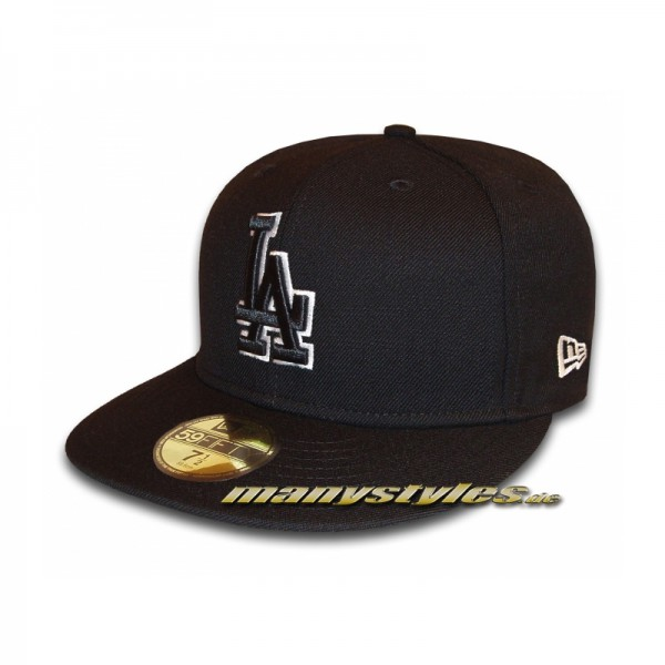 LA Dodgers 59FIFTY MLB Basic Outline exclusive Cap Black White